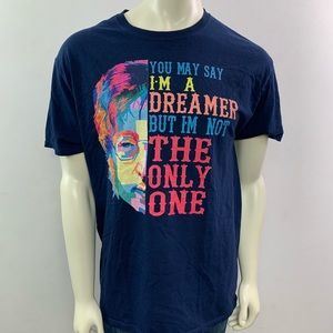 "John Lennon ""Dreamer"" Quote Crew Neck T Shirt"
